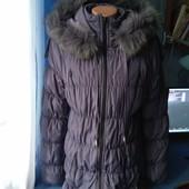 Зимний пуховик с капюшоном на девочку 10-14лет