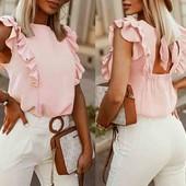 Шифонова блуза з рюшами