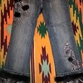 Дизайнерские джинсы Miss F&B! Кружево, мех, стеклярус! р.S