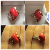 Шикарное серебряное кольцо серебро 925пр.+ золото 375 пр. Новое с биркой!