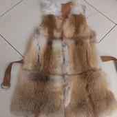 Жилетка жилет кожаный с лисой натуральный 46р
