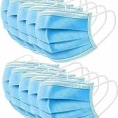 безкоштовна доставка) Маски трьохшарові з фіксатором 50шт)+ антисептик)