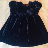 Платье синее бархатное 3-6 месяцев Нарядное;)