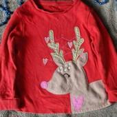 Милашный реглан новогодний для девочки 2-3 года