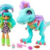 Игровой набор Прогулка с динозавром Mattel Cave Club Rockelle doll and tyrasaurus dinosaur pal