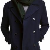 Бомба! Полупальто H&M на пуговицах тёмно-синее теплое 46р евро Оригинал, бирка