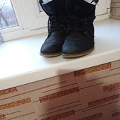 Кожаные ботинки на утеплителе(стелька-25 см)