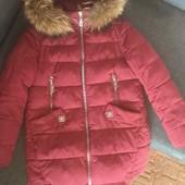 Зимнее пальто куртка с натуральным мехом