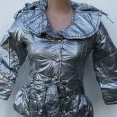 Куртка ветровка весна евро зима для принцессы холофайбер и теплый флис изнутри цвет серебро