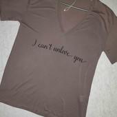 Новая футболка цвета мокко с надписью от Zara с натурального материала!!!