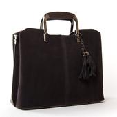 Стильная кожаная сумка с замшевым фасадом от Alex Rai