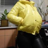 Зимняя новая женская куртка желтого цвета 48 раз.