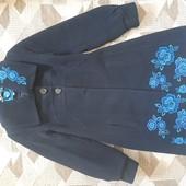 Шикарне чорне пальто кашемір р.44 з вишивкою