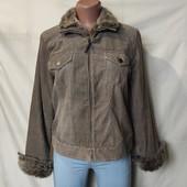 Классная вельветовая куртка на плотном флисе,на рукавах молнии,L/xl