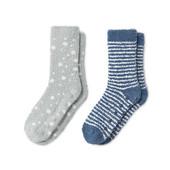 Лот 1 пара!!! Мягкие махровые носочки со стопперами от Tchibo Германия размер 35/38 серые в горох