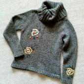 Утепляемся! 38-40р. Толстый шерстяной свитер хаки с вышивкой