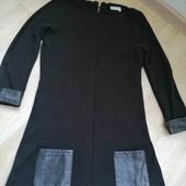 Тёплое платье с вставками екокожи/Promod/S-M!!!