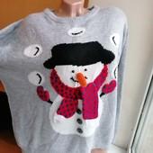 Серый новогодний свитер снеговик с морковкой батал большой размер atmosphere