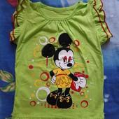 Супер!!! Яркая, красивая футболка с рукавчиком крылышки на девочку 2-3 г.