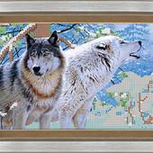 """Схема для вишивки бісером формат А 4 """"Вовки"""" тканина атлас"""