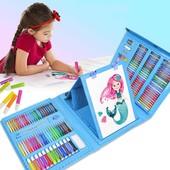 Детский набор для рисования 208 предметов в удобном кейсе с ручкой плюс Мольберт