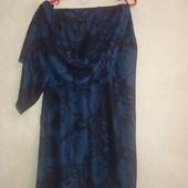 Синий палантин шарф, цветочный принт