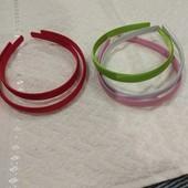 Обручи широкие ( 1,5см) пластиковые мягкие, обтянутые тканью. В лоте 5 штук