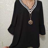 На пышные формы! Шикарная черная нарядная кофточка блуза р.16 Акция читайте