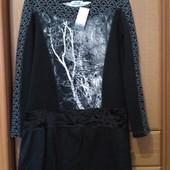 Платье из комбинированной ткани 46-48