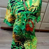 Суперское платье-рубашка в цветах Bonprix. Размер M_L. 100% вискоза.