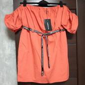 Фирменное новое красивое и модное платье с рукавами-фонариками р.16 флакс+коттон