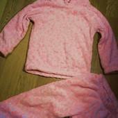 Флисовая плюшевая теплая пижама с ушками на 5-7 лет