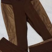 лосины с кожаными вставками