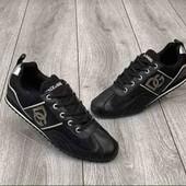 Мужские кроссовки черного цвета Dolse & Gabbana кожаные реплика Индонезия