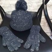 Шапка с перчатками,набор Next,очень тёплый!