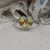 не пропустите! шикарное кольцо с фианитами и кристаллами Swarovski, р.18, 19, родий