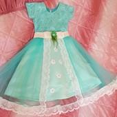 Нарядное платье на 4-6 лет. Рост 110-128. Новое состояние! Круги в подарок.