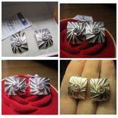 Шикарный подарок!Роскошные крупные сверкающие серебряные серьги- 925 пр. .Новые с биркой!