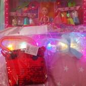 набор ,кукла с нарядами, волшебная палочка,сумочка