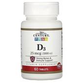 Витамин D3, 25 мкг (1000 me), 60 таблеток, США