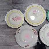 Тарелки новые СССР. В лоте 1 набор на выбор, количество тарелок указано на тарелках.