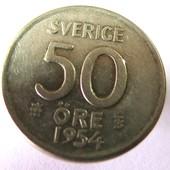 #1 монета Швеция 50 эре, 1954_серебро
