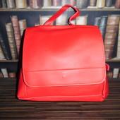 Красный городской рюкзак, эко-кожа (мягкий кожзам)