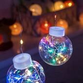 Новогодняя гирлянда медный провод Штора прозрачные шары с наполнением 3,0мХ0,7м 200LED ( мультицвет)