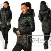 Стеганная демисезонная куртка с меховыми карманами ,черная