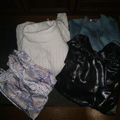 Лот вещей. Свитер, туника, футболка и блуза-боди.
