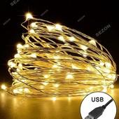 Светодиодная гирлянда нить, роса 10 метров 100 led на USB (теплая белая) Warm White цвет usb