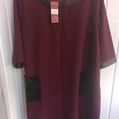 Красивое платье со вставками экокожи на 56_58р. Обнова на праздник!!