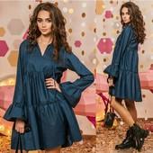 Платье новое из плотной джинсовой ткани красивого фасона , размер 44-48, смотрите замеры