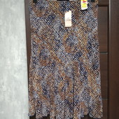 Фирменная новая красивая шифоновая юбка на подкладке р.16-18